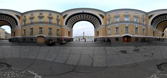 View of the Palace Square from the Arch of the General Staff | Palace Square, 10, St. Petersburg, Russia, 191186 | 360° panorama, virtual 3D/VR tour | Vladislav Sokolov | TrueVitualTours